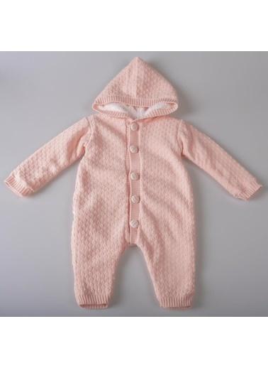 POKY Yeni Sezon Kız Erkek Bebek Nopen Örgülü Pamuklu Triko Tulum-12898 Pudra